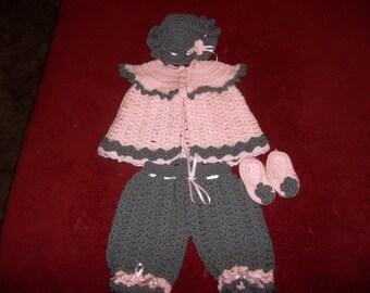 Hand crochet baby girl set