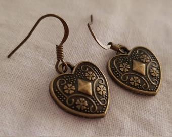 Etched Heart Bronze Dangle Earrings Valentine's Day