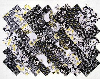 "BLACK, YELLOW & GRAY 4"" Squares,  100% cotton prewashed,  Quilt Block Fabric (#E/98B)"