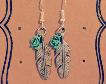 Silver Plated Feather and Flower Earrings