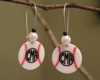 Personalized Baseball Earring, Monogrammed Baseball Earrings, Custom Baseball, Personalized Jewelry, Custom Baseball Earrings, Baseball Gift