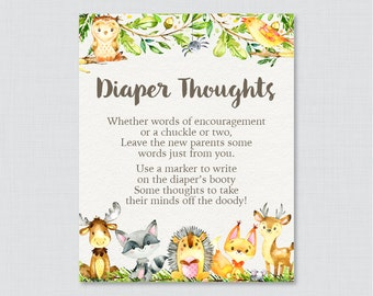 Woodland Animal Baby Shower Diaper Thoughts Game - Printable Download - Woodland Write on Diaper Message Game, Words for Wee Hours - 0065