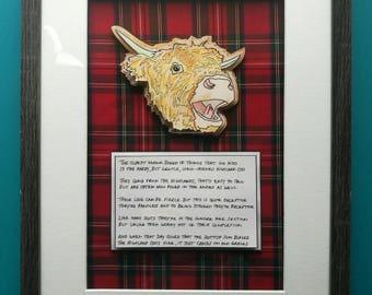 Highland Coo (Highland Cow) Box Frame Art and Poem