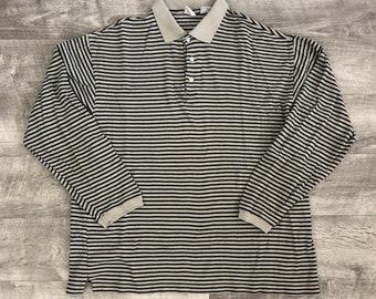 90s Style Gap Gray Black Striped Long Sleeve Polo Oversized Shirt - Large