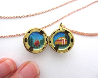 Teeny Hidden Painting of Camping Adventure, Water-Marked Brass Locket
