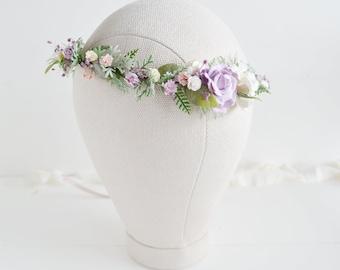 Flower crown, Spring rustic flower crown, Bridal lilac flower crown, wedding crown, Rustic flower crown, Bridal flower headpiece