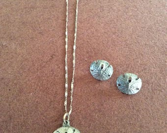 Sand dollar necklace and earrings