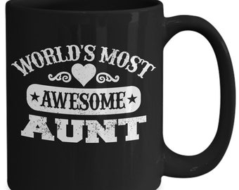 World's most awesome aunt black ceramic coffee mug gift tea cup