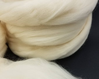 1 pound White Rambouillet combed top, roving, spinning fiber, felting fiber, fiber