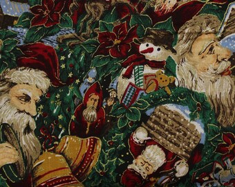 """Vintage Santa collage Red and Green by Joan Messmore 100% cotton 42""""-44"""" wide VIP print Cranston Print works"""