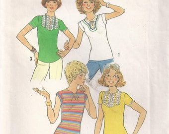 Stretch Knit Pullover Top Short Sleeves Or Sleeveless Size 10 Blouse Shirt Sewing Pattern 1977 Simplicity 7982