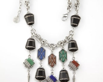 Art Deco Glass Bib Necklace