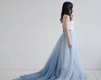 Nora - ombre bridal skirt / tulle wedding skirt / tulle bridal skirt / dusty blue bridal skirt / custom ombre dyed tulle floor length skirt
