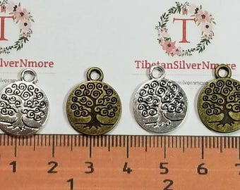 12 pcs per pack 15mm curly Tree of Life Coin Charms Antique Silver or Bronze Lead free Pewter.