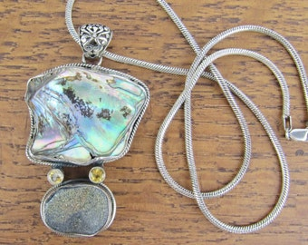 Sterling Silver Pendant Abalone Druzy Quartz Citrine Necklace jewelry hand made 925 Italy Sterling Chain