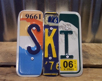 SKI SIGN Recycled - Repurposed - Upcycled SKI License Plate Wall Hanging