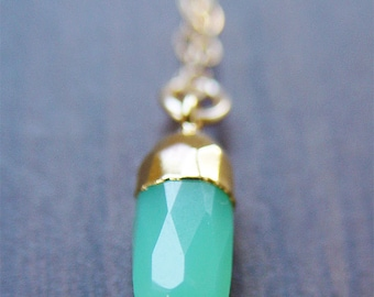 Chrysoprase Point Gold Necklace, Layering