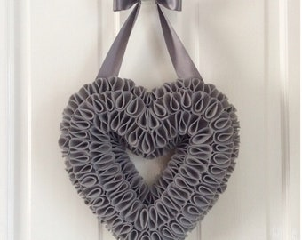 Felt Heart Wreath, Heart Decor, Heart Accessories, Hanging Hearts, Gallery Wall Art, Grey Accessories, Monochrome Decor, Thank You Gift