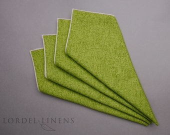 """Lime Napkins Linen Look Set of 4 Cloth Dinner Napkins 18"""" Square Home Decor Table Accents"""