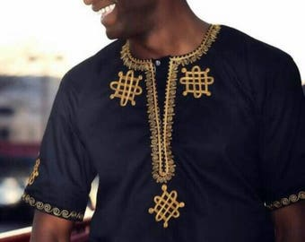 Mens Black and Gold Royalty Top