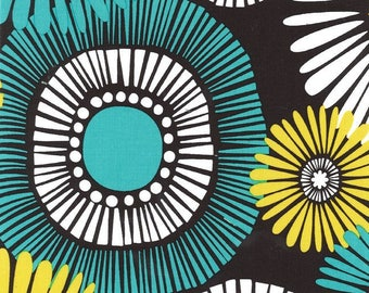 Michael Miller Fabric, Aqua, White and Yellow Flowers on Brown, Cotton Sewing Material, Quilting Supply, Fat Quarter, By The Yard, DIY Craft