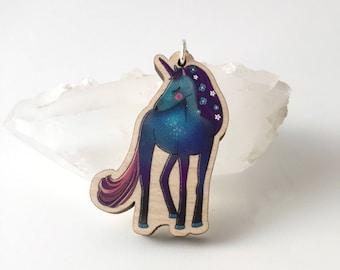 unicorn necklace - unicorn pendant - wooden pendant - laser cut necklace