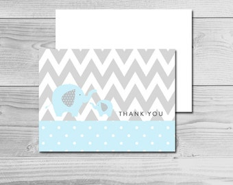 Blue and Grey Elephant Baby Shower - Thank You Cards - Instant Download Printable - Baby Boy