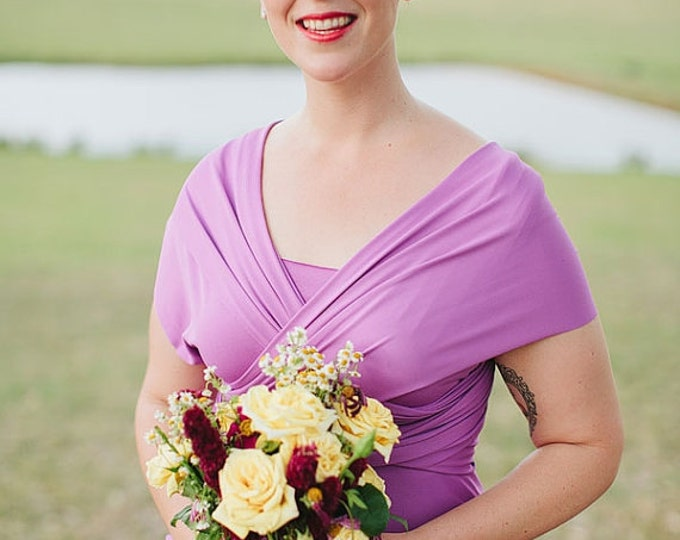 """Ready to Ship~Standard One Size, 42"""" Length~ Vero Beach Violet Long Octopus Convertible Wrap Gown"""