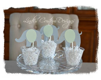 Baby Shower Table Decor, Mint Gray Elephant Baby Shower Table Centerpieces, Unique Baby Gift, Elephant Cupcake Topper Party Cups, Neutral