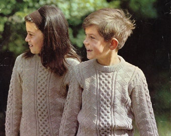 childrens aran sweater knitting pattern pdf cable sweater crew neck jumper 24-28inch DK light worsted 8plypdf instant download