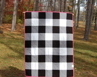 CLEARANCE Black Gingham Crib Quilt, Ready to Ship