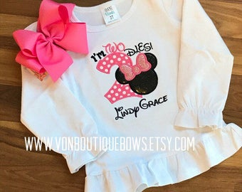 Pink mouse bow Personalized Boutique Number Birthday two 2nd flutter Girls Applique Short Long Sleeve Shirt Tank icing shirt