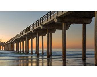 Scripps Pier La Jolla Photo Print - San Diego Beach Pier -  HDR - Ocean - Fine Art Photography - Wall Decor - Panoramic Landscape
