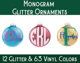 Monogram Ornament / Personalized Ornament / Glitter Ornament / Christmas Ornament / Custom Ornament / Christmas Gift  / Unique Gift /