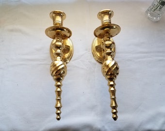 Brass wall sconces made in India set of 2 ornate brass candleholders or votive holders wall decor wall hangings brass