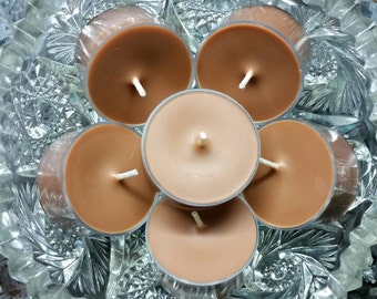 Christmas Hearth Scented Tea Light Candles - All Natural Soy Wax (Set of 6) - 5 Hour Burn