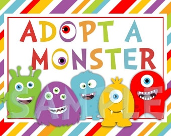 Little Monster 5x7 Adopt a Monster party sign - Instant Download
