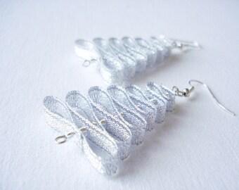 Christmas tree, Christmas tree earrings, silvery Christmas tree earrings, dangle earrings, grey silvery color, long earrings, light earrings