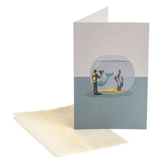 LOVE IN a FISHBOWL. Love card. Love In A Fishbowl. Mermaid love message. For him. For her