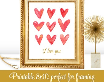 Watercolor Hearts, Printable 8x10 Sign, Red Gold, Valentine's Day Home Decor, Valentine Wall Art, Bedroom Decoration, Nursery Decoration