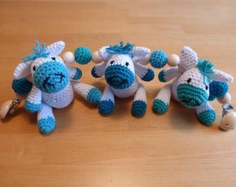 Decoration for stroller or crib - donkeys - crocheted