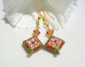 Earrings Cloisonne Golden Floral Beads Copper Swarovski Crystal