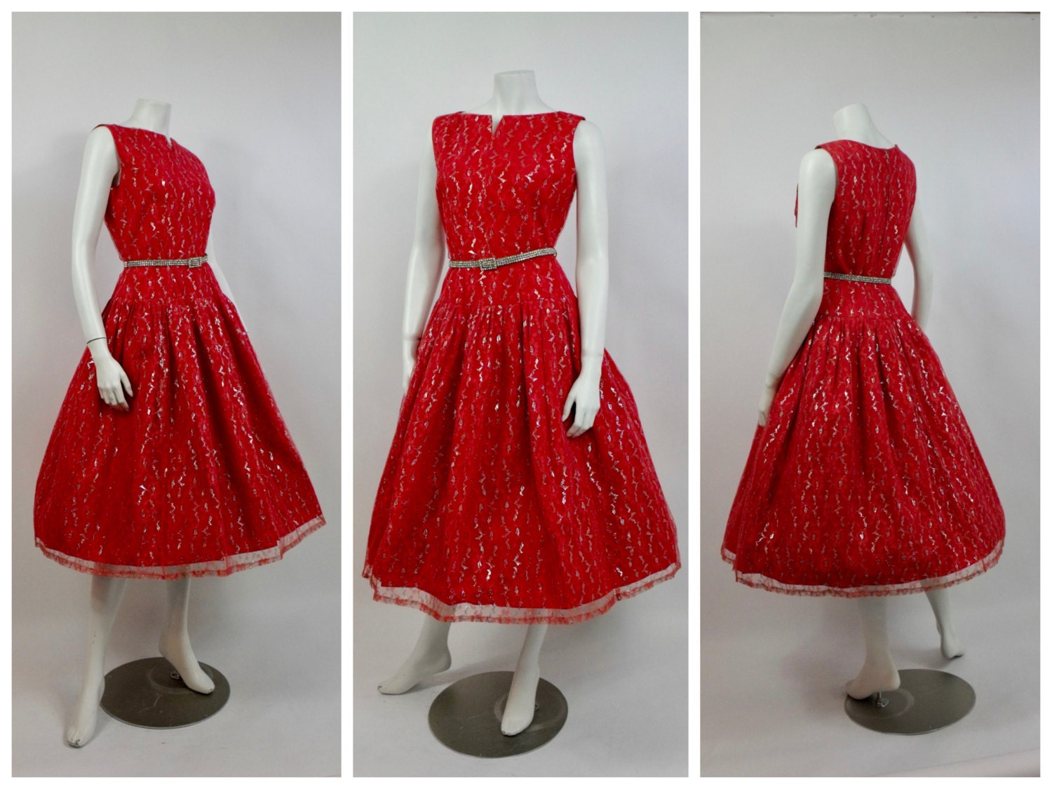 1950\'s Red Lace Tea Dress - Christmas - Chantilly Lace - 50\'s ...