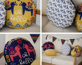 Scandinavian Style Dala Horse Pattern Panel Cotton Fabric