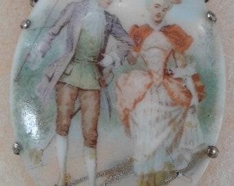 """Porcelain """"Courtship"""" Scene Pendant Necklace"""