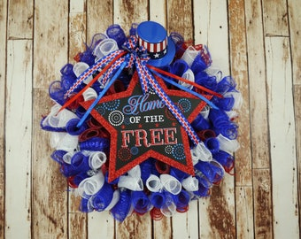 Free Shipping, nPatriotic Wreath, Fourth of July, Independence Day, Memorial Day, Veterans Day, Labor Day, Red, White and Blue, Front Door