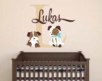 Custom Name Wall Decal - Puppies Wall Decal - Nursery Dog Wall Decal - Baby Room Decor - Nursery Wall Decals Vinyl Sticker