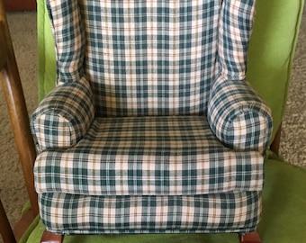 Checked fabric Papa bear chair