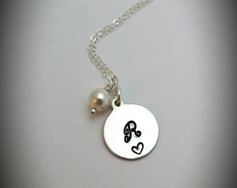 Valentine's day gift for her, June birthstone initial charm necklace/ Pearl necklace/ Sterling silver necklace with initial/ June birthday