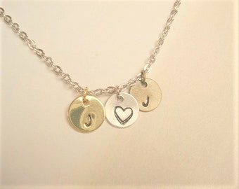Three Disc Necklace Personalized Necklace Initial Necklace  Personalized Jewelry Gold Disc Necklace Silver Disc Necklace